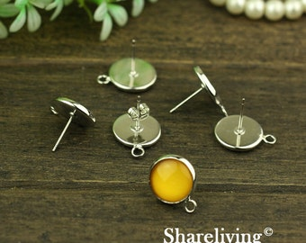 10pcs Silver Solid Brass Earring Posts With Round 12mm Tray & one Loop  EA333B