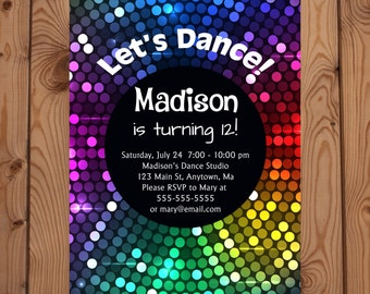 Dance Party Invitations - Dance Birthday Invitation - Disco Party - Disco Party Invitation - Disco Dance Party Birthday Invitation - Digital