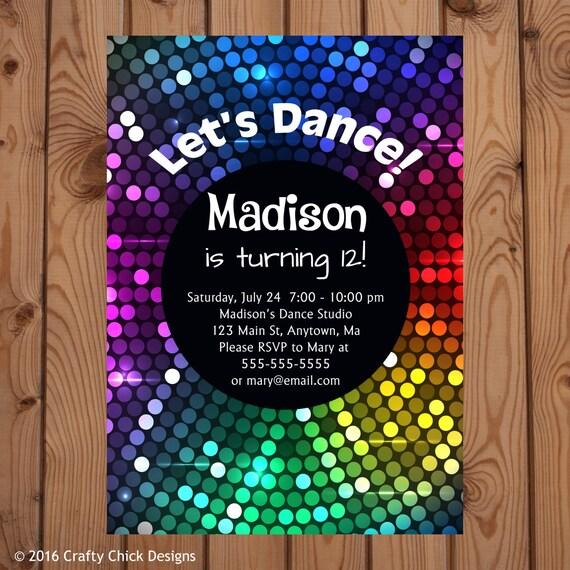 Dance Party Invitations Dance Birthday Invitation Disco