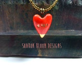 Ceramic Red Heart Necklace XOXO Handmade by Sharon Bloom Designs
