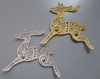 Embroidered Reindeer Lace Applique with moving parts in metallic Silver or Gold