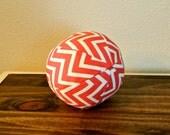 Fabric Ball - Baby Ball - Coral - Chevron