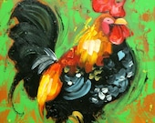 Rooster 813 12x12 inch animal portrait original oil painting by Roz