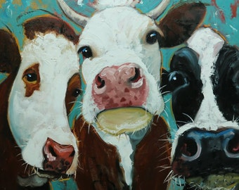 Cows painting animals 516  30x30 inch original portrait oil painting by Roz