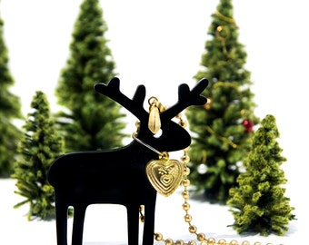Black Reindeer Pendant Necklace,Christmas Jewelry