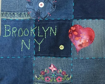 Purse Recycled Blue Jean Embroidered Purse Tote Brooklyn NY Hippie Gypsy Bohemian