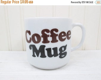 ON SALE Vintage Ceramic Coffee Mug Cup Words Typography Retro Typographic