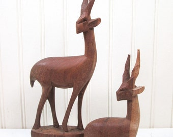 Vintage Antelope Figurine Set Carved Wooden Gazelle Deer Wood Retro