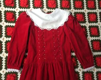 Red Velvet Dress Girls 7/8