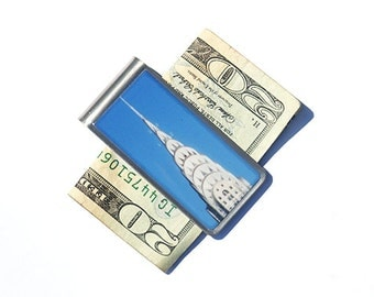 NYC - Money Clip  Moneyclip - Groomsmen Gift- Father's Day Gift- Gift for Dad - Cool Gifts for Men - Chrysler Money Clip, Architecture
