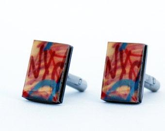 Gift for Dad, Groom Cuff links, Cufflinks, Men Jewelry, Graffiti Art, New York Art, NYC, New York Graffiti, Gift for Men, NYC Cuff links