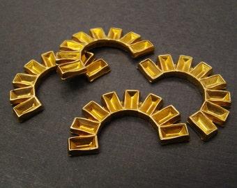Vintage brass settings for 5mm x 3mm rhinestones, curved half moon, heavy struck, 4 pcs
