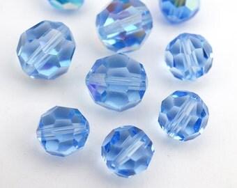 9 pcs asst size vintage blue Swarovski crystal beads, faceted round article 5000