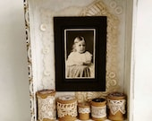 Lace and Spools Altered Cigar Box with antique cabinet card and vintage embellishments