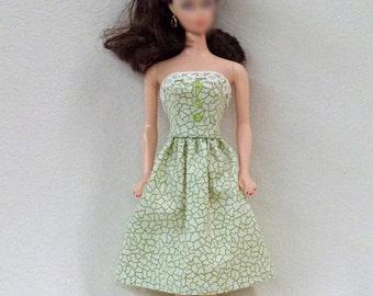 "Green 11.5"" Fashion Doll Dress Handmade"