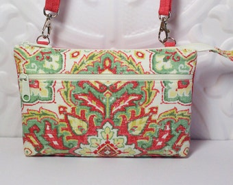 Cross Body Wallet Cell Phone Purse / iPhone 6 Plus Clutch / Samsung Galaxy Wallet / Tech Smart Phone / Coral Pink Green Yellow Damask