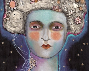 SALE  SPECIAL PRICE!! Free Shipping Print Mixed Media painting woman  exotic ethereal flower dream night sky
