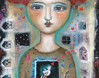 SALE  SPECIAL PRICE!! Free Shipping Print Mixed Media painting woman  birds of the heart muse fairy inspiration