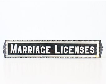 Vintage Glass Sign - Marriage Licences, Reverse Paint, Foil Sign