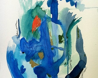 watercolor abstract landscape 9 X 12 original contemporary art
