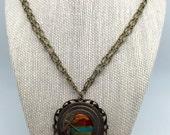 Vintage Look Vintaj Antique Brass Pendant Sunset Necklace