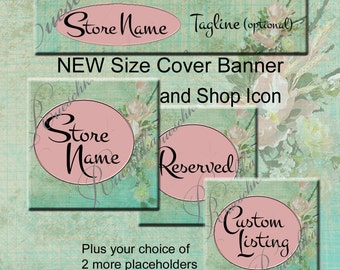 Tea Room Blush Pink Soft Green Floral Graph Paper Retro Etsy Shop Icons Banners Set