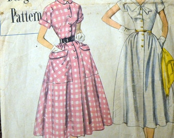 Vintage 1950's Sewing Pattern Simplicity 8260  Misses' One Piece Dress and  Size 12 Bust 30 inches COMPLETE