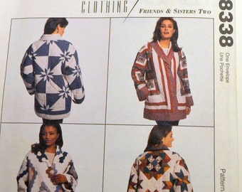 Vintage Sewing Pattern McCall's 8338 Misses' Quilt Jackets Size Small or Large Bust 30-48 inches UNCUT