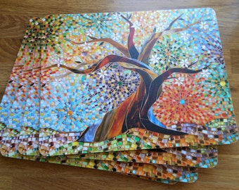 Placemats SET OF 4 LARGE Tree of Life Placemat - Mosaic Art - Multicoloured Mosaic Tree - Unique Tablemats - Tree Mats - Tablemats  Tree Art