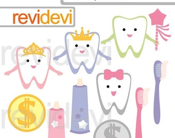 30% OFF SALE Teeth clipart, commercial use clip art, digital graphic, digital images - Tooth Fairytale 07585