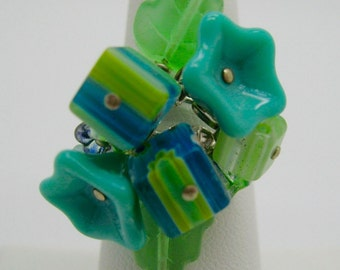 Teal Fantasy Flowers and Cubes Adjustable Ring