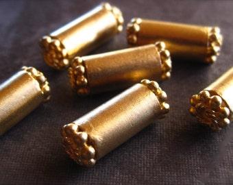 Golden Tube beads in vermeil - 2 beads   - 15mm X 5mm