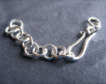 Hook and Eye Adjustable Clasp - sterling silver - Extended chain - Adjustable
