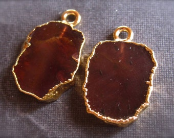 Pair of Garnet Gold Plated Drops - Charms - semiprecious stone - 17mm X 11mm