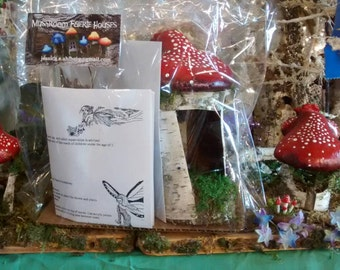 Red Mushroom Hut Fairy House Kit Made out of Birch Bark with Blue Jay Great for Children Holiday Gift or Birthday Parties