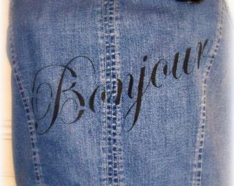 BONJOUR revamped Denim bodice turned sundress, size 4 xxs, blue floral skirt, black flower brooch, teen girls