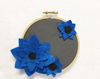 Fabric Wall Art, Embroidery Hoop Art, Deep Blue, Floral Wall Decor, Hoop Wall Hanging, Felt Flower Hoop, Wedding Decor, Teacher Gift