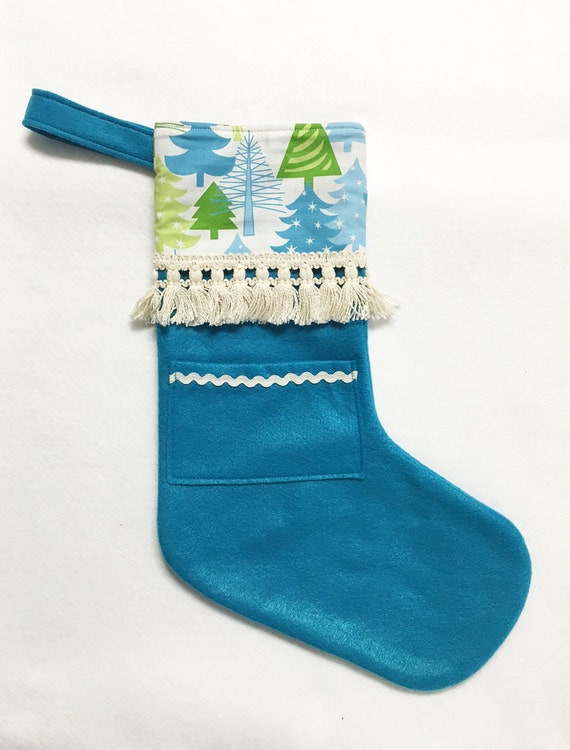 Felt Stocking, Christmas Stocking, Pocket Peeper, Snowy Forest - Teal Stocking, Vintage Fringe Trim