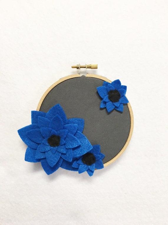 Fabric Wall Art, Embroidery Hoop Art, Deep Blue, Floral Wall Decor, Hoop Wall Hanging, Felt Flower Hoop, Wedding Decor, Teacher Gift