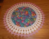 Crocheted Easter Egg Doily with Pink Trim 18 inches Doilies Centerpieces