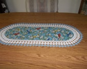 Crochet Table Runner, Birds, Handmade, Fabric Table Runner, Gift, Best Doilies, Lace Edge, Dresser Scarf, Home Decor, Oval Centerpiece
