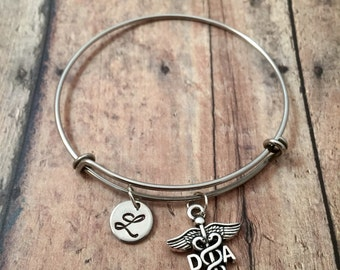 Dental assistant initial bangle - DA jewelry, gift for dentist assistant, dental school gift, silver dental assistant initial bangle