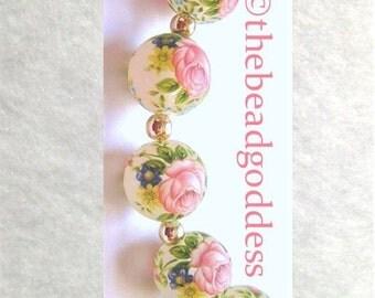 5 Beautiful Japanese TENSHA Beads Pink Rose Frost 12mm