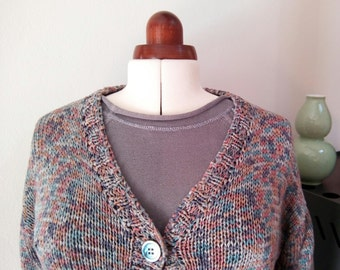 Vintage 80s hand knitted mini cardigan, short, oversized