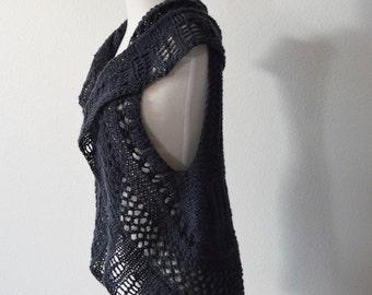 Gunmetal Grey Lace Sweatervest - Dark Mori Bohemian 100 Percent Wool Handknit Layering Vest, Size Medium/Large.