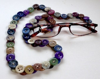 Eyeglasses Leash in Vintage Buttons - Multi Colors