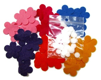 36 MINI FLOWERS,  Wool felt appliques,  DIY, precision die cut, Assorted colours, with centres