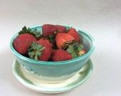 handmade berry bowl -  stoneware- white / green- colander /strainer/ pottery- ceramic -BB6