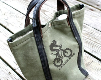 FAMBE Tote! 2 Growler or 1 - 6 pack capacity. Recycled from Army Tent Canvas & Bicycle Tubes.