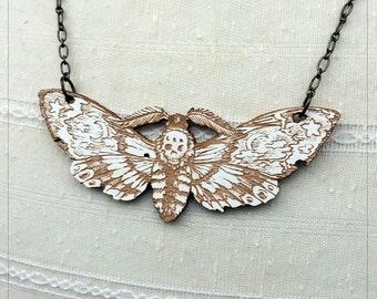 Death's Head Moth, Hawk Moth Pendant white maple Variant